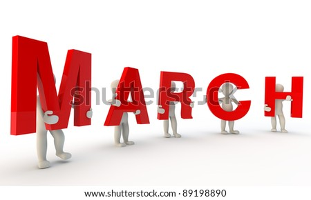 3D humans forming red word March made from 3d rendered letters isolated on white - stock photo