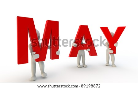 3D humans forming red word May made from 3d rendered letters isolated on white - stock photo