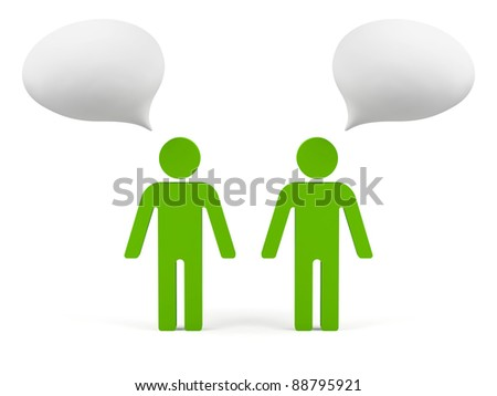 3d humans with empty chat. - stock photo