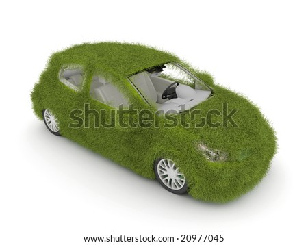 3d Hybrid auto with green grass. Ecological friendly auto decorated with green grass. - stock photo