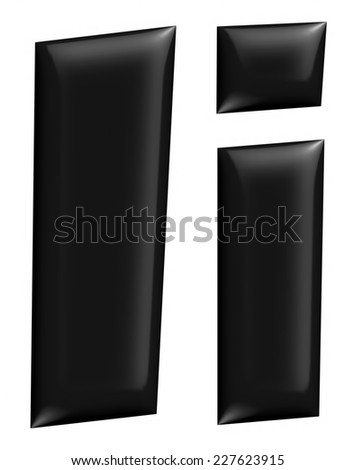 3D I alphabet with small later in black on isolated white background. - stock photo