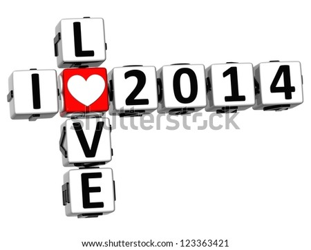 3D I Love 2014 Crossword on white background - stock photo