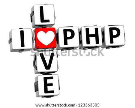3D I Love PHP Crossword on white background - stock photo