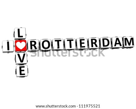 3D I Love Rotterdam Crossword on white background - stock photo