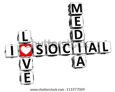 3D I Love Social Media Crossword on white background - stock photo