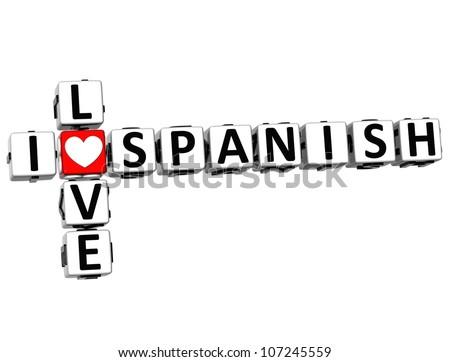 3D I Love Spanish Crossword on white background - stock photo