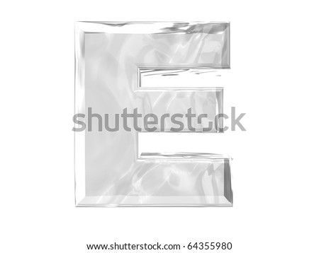 3D ice alphabetic letter E, isolated on a white background - stock photo
