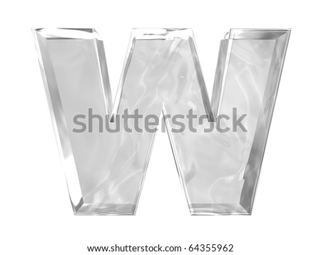 3D ice alphabetic letter W, isolated on a white background
