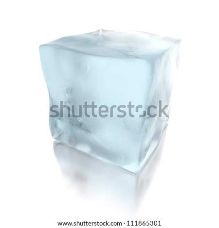 3d ice cube isolated on mirror floor - stock photo