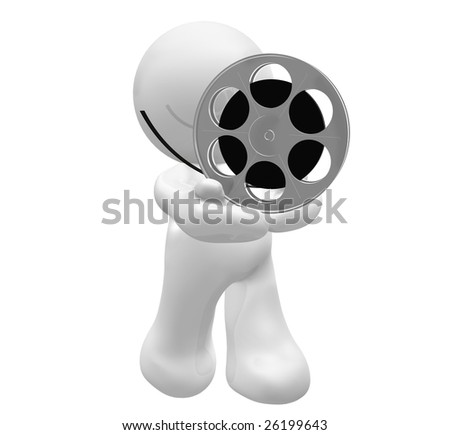 3D icon figure holding a movie reel roll