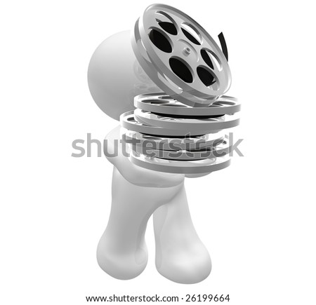 3D icon figure holding a movie reel rolls - stock photo