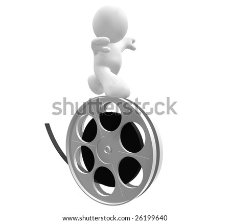 3D icon figure walking balance on a movie reel roll - stock photo