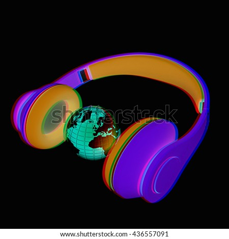 3d icon of colorful headphones and earth a black background. 3D illustration. Anaglyph. View with red/cyan glasses to see in 3D. - stock photo