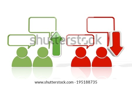 3d icon of communication sign with up and down stock market trade trend arrows isolated on white background - stock photo