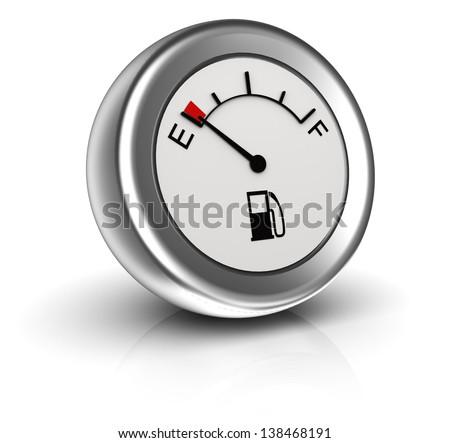 3d icon of fuel gauge indicates empty tank - stock photo