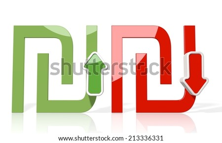 3d icon of Shekel sign with up and down stock market rate trend arrows isolated on white background - stock photo