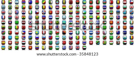 193 3d icons flags of the world - stock photo