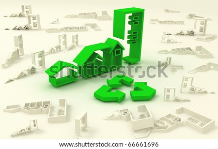 3d icons green houses - stock photo