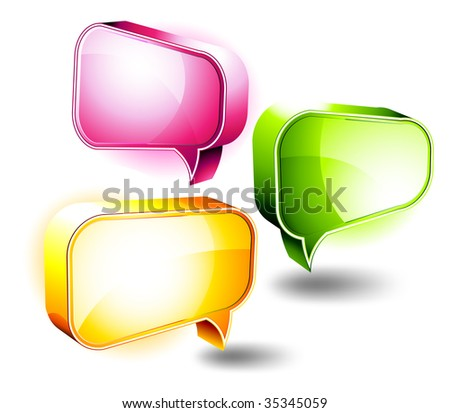 3D Icons: Shiny Chat Boxes - stock photo
