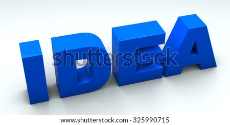 3D idea word on white isolated background