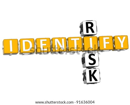3D Identify Risk Crossword over white background - stock photo