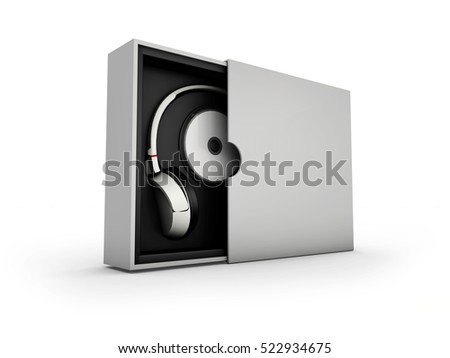 3d Illustaration of Black and silver headphones in white and black box on white background. Mockup