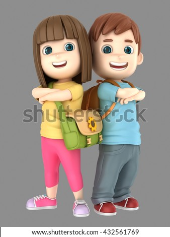 3d illustraion of cute little boy and girl confident and proud wearing bags