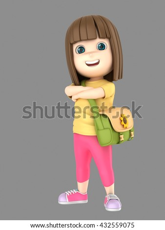 3d illustraion of cute little girl confident and proud wearing bag