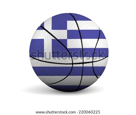 3d illustrated basketball with Greece flag