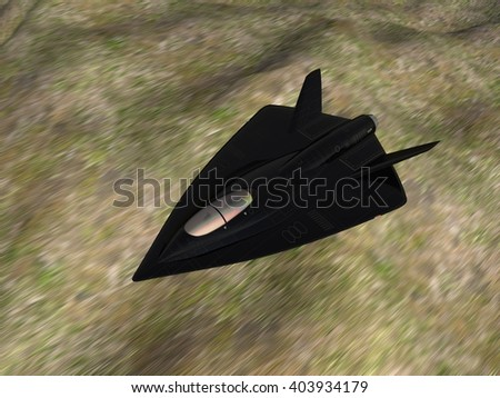 3D illustrated futuristic fictional black delta wing stealth fighter aircraft flying at high speed at low altitude