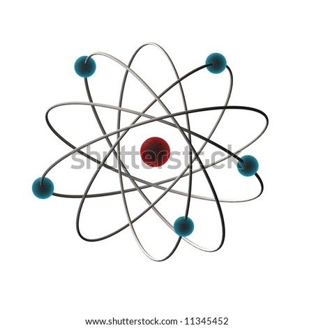 3d illustrated of an atom - stock photo