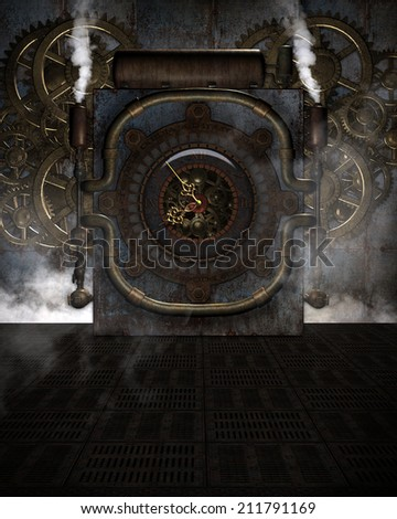 3D Illustrated Steampunk background. Can be used for photo-manipulation images or a ready made background for your 3D renders.  Giant steam clock with gold clock hands, pipes, steam and metal floor.