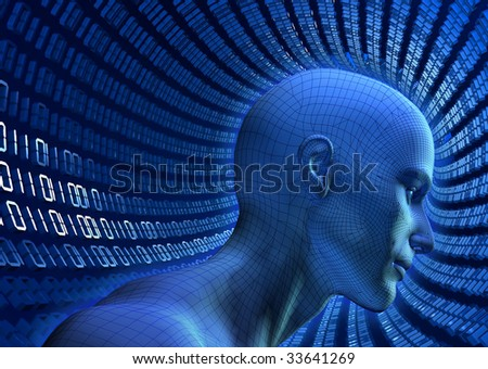 3D illustrated wiref-frame human head in a virtual, binary cyberspace tube - stock photo