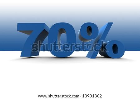 70% - 3d illustration - stock photo