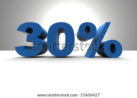 30% - 3d illustration - stock photo