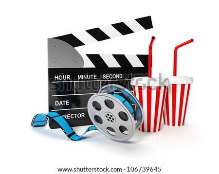 3d illustration: A film with the coil shooting cinema display - stock photo