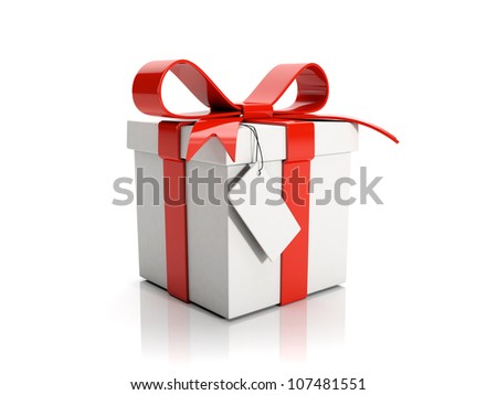 3d illustration: A gift on a white background - stock photo