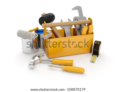 3d illustration: A group of construction tools on a white background - stock photo