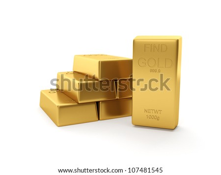 3d illustration: A group of gold bars - stock photo