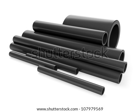 3d illustration: A group of plastic pipes - stock photo