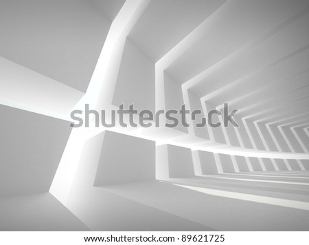 3d illustration: Abstract architecture background with white bent futuristic interior