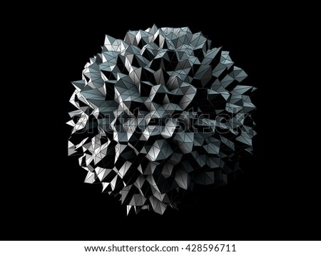 3D Illustration - Abstract irregular spherical shape isolated on black background