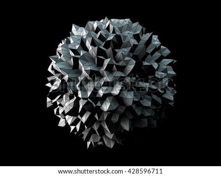 3D Illustration - Abstract irregular spherical shape isolated on black background - stock photo