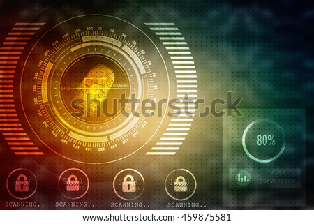 2d illustration Abstract technology background.Security system concept with fingerprint Letter P sign