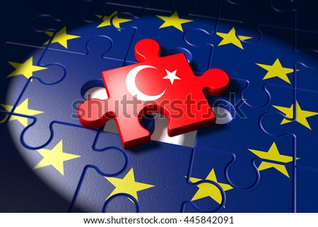 3D Illustration, Accession negotiations between Turkey and the EU symbolized as a puzzle - stock photo