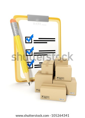 3d illustration: accounting of goods, storage of goods. Notepad and pencil on a white background - stock photo