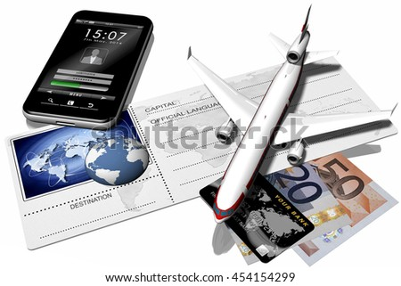3D illustration.Airplane resting on airfare depicted with the world and its possible side links. A money and Smart Phone.