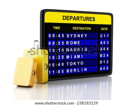 3d illustration. airport board and travel suitcases on white background - stock photo