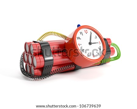 3d illustration: Alarm clock and dynamite