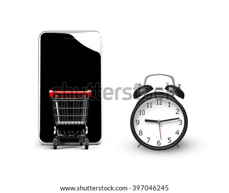 3D illustration, alarm clock with small shopping cart entering smart phone of black screen, isolated on white, limited time shopping concept. - stock photo